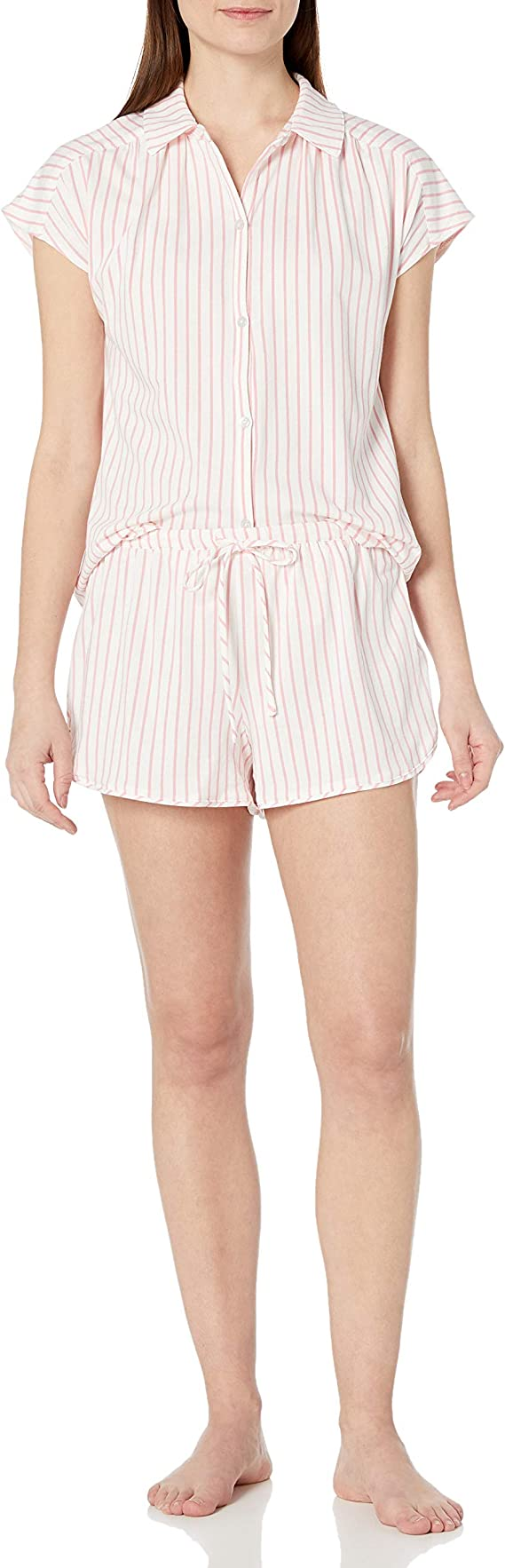 Jane and Bleecker Women/'s Notch Collar Button Front Capri Pant PJ Set 1394818