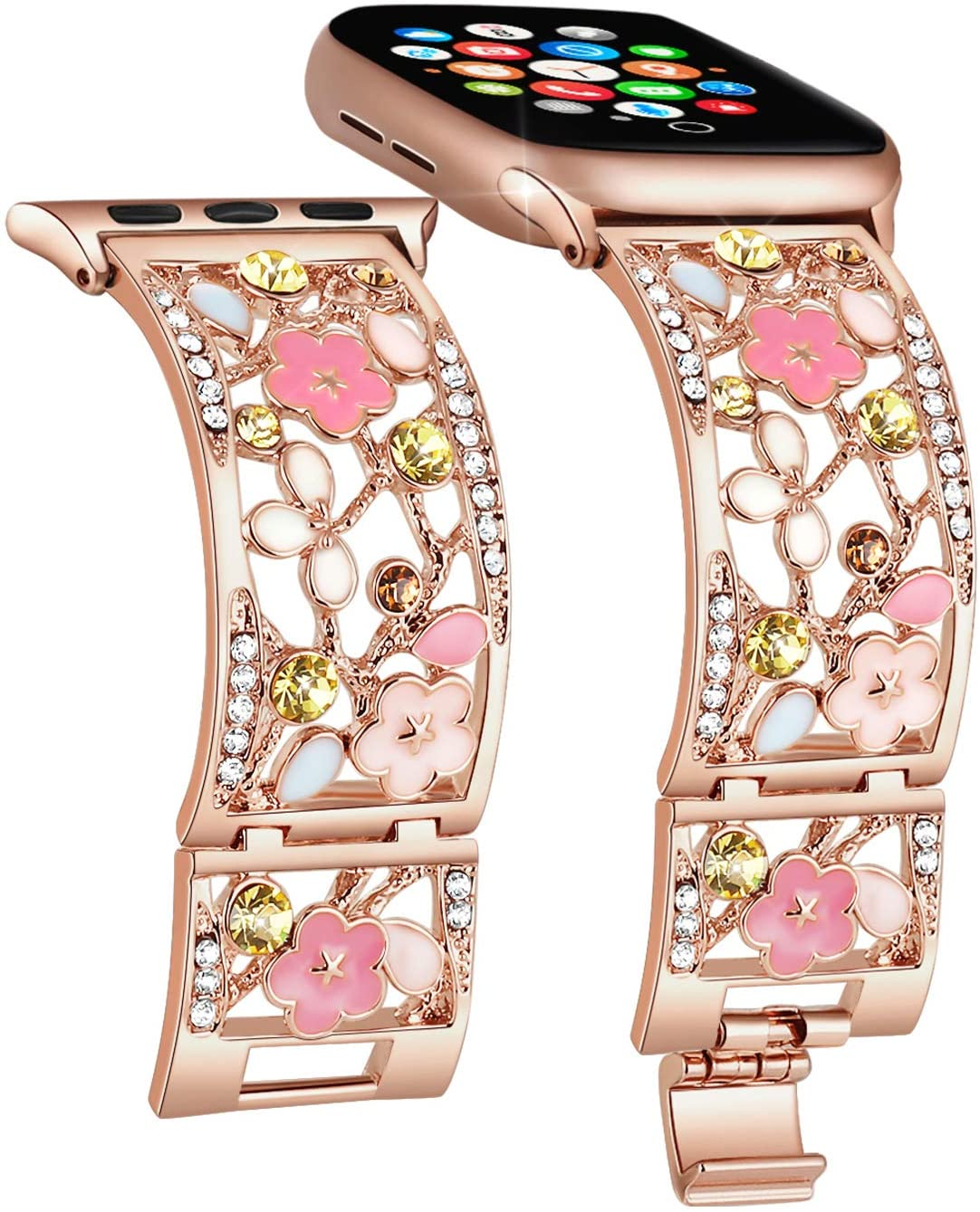 Duoan Floral Bracelet Compatible with Apple Watch Band 38mm 40mm 42mm 44mm iWatch Bands Series 6 5 4, Bling Crystal Dressy Hollow Metal Cuff Strap, Chic Women's Jewelry Wristband (42mm/44mm Rose Gold)