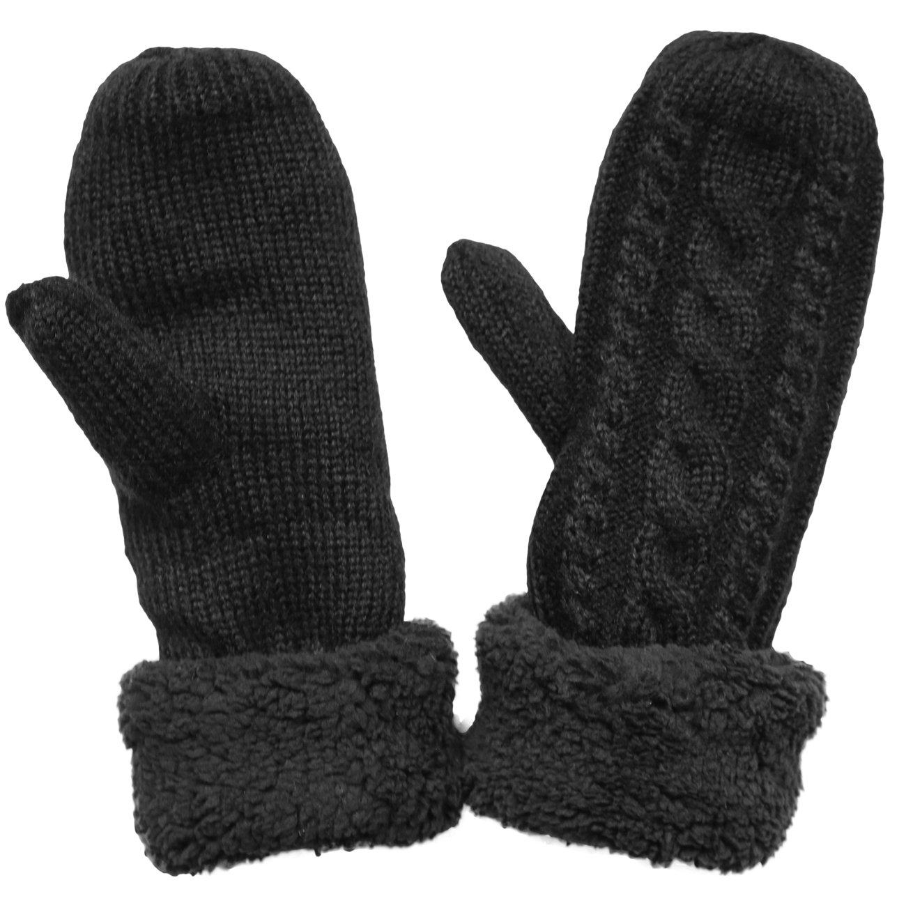 KMystic Plush Lined Cuffed Winter Knit Mittens (Black), One Size
