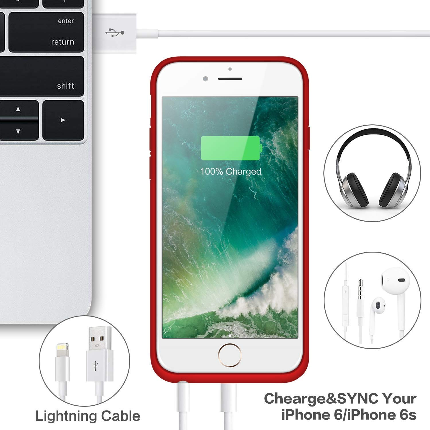 Rose Gold Battery Case for iPhone 6s//6,Upgraded 6000mAh Rechargeable Charging Case Portable External Battery Pack for Apple iPhone 6//6s Protective Charger Case Backup Power Bank 4.7 Inch