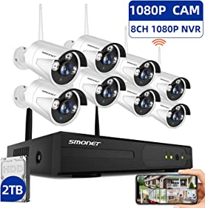 ?2TB Hard Drive Pre-Installed? SMONET H.264+ Security Camera System Wireless,8CH Full HD 1080P Home Surveillance Systems, 8pcs 2.0MP Outdoor&Indoor Wireless IP Cameras,P2P, Free APP,Easy Remote View