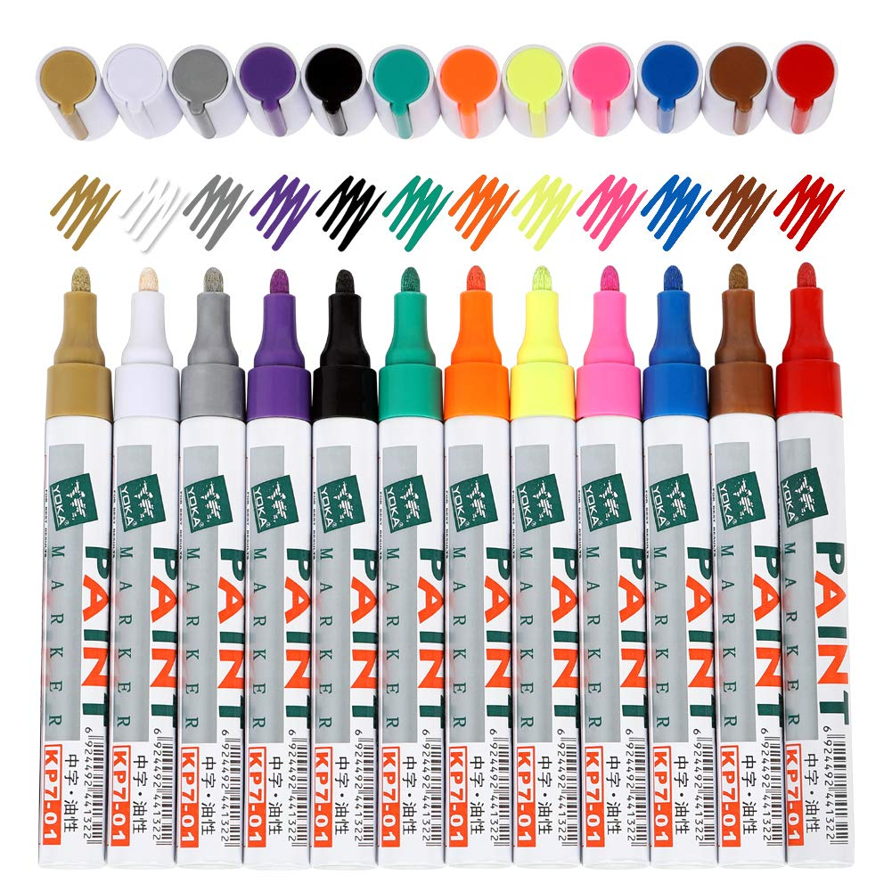 Paint Pens for Rock Painting-Stone, Metal, glass etc  12 colors oil based