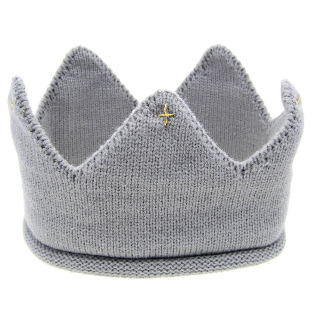 Cappello del bambino , feiXIANG Nuovo carino bambino ragazzi ragazze corona maglia cappello Fascia,filato di lana filato di lana (blu)