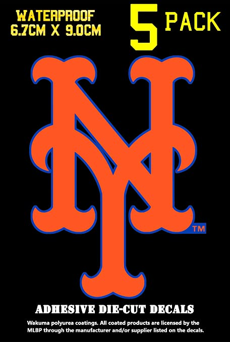 TWO NEW YORK METS BASEBALL HELMET VINYL STICKER DECAL BATTING HELMET DECAL