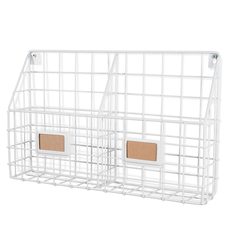 Wall35 Rivista 2 Compartment Multipurpose Wall Mounted Farmhouse Design Basket - Wide Magazine Rack Metal Wire White