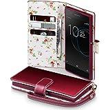 Xperia XA1 Cover, Terrapin Handy Leder Brieftasche Case Hülle mit Standfunktion Kartenfächer für Sony Xperia XA1 Hülle Rot mit Blumen Interior