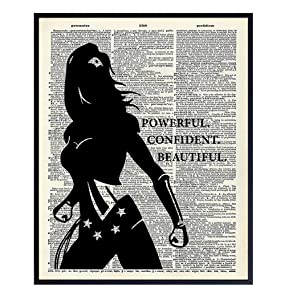 Powerful Confident Beautiful Woman Dictionary Art, Home Decor - Inspirational Wall Art Print, Poster - Gift for Superheroes, Comic Book Fan, Women - 8x10 Unframed Motivational Girls Room Decoration