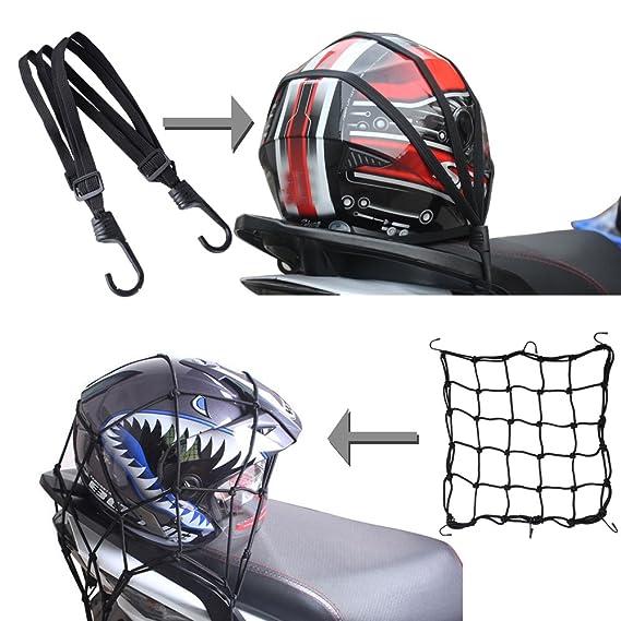(Pack 2) Red Elástica Moto Equipajes Carga Casco 40 * 40cm + Correa de Casco Cuerda Moto Motocicleta Bicicleta 60cm Color Negro: Amazon.es: Coche y moto