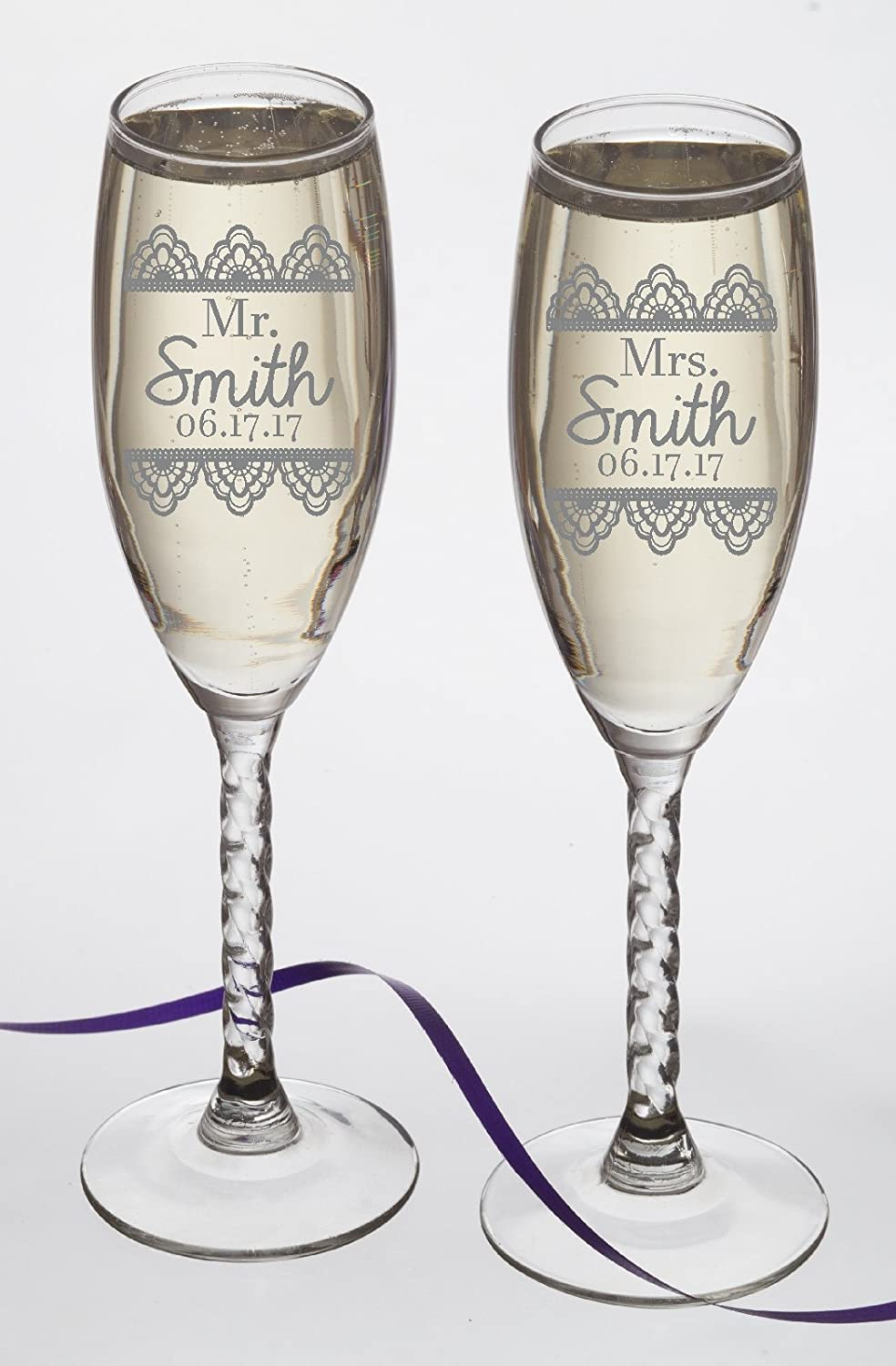 Set of 2 Personalized Wedding Gift-Champagne Flutes- Lace Design ...