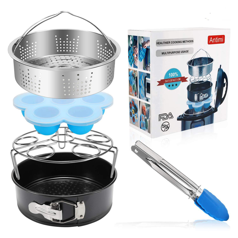 Antimi 5PCS Pressure Cooker Accessories Set For For Instant Pot 5,6,8 QT, Steamer Basket, springform pan, Egg Bites Molds, Egg Steamer Rack, Dish Bowl Clip