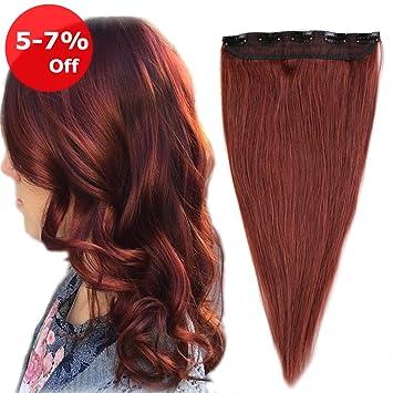 Amazon.com   One piece Clip in Hair Extension Human Hair 20   Dark ... 43bf29f70e8a