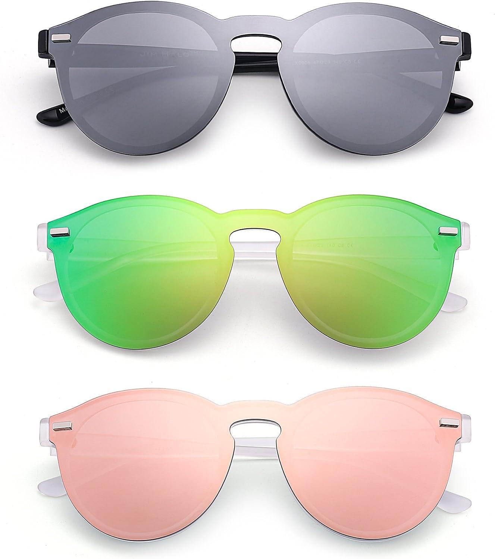 JIM HALO Gafas de Sol Redondas Polarizadas para Mujer Hombre Gafas Moda Sin Montura UV400