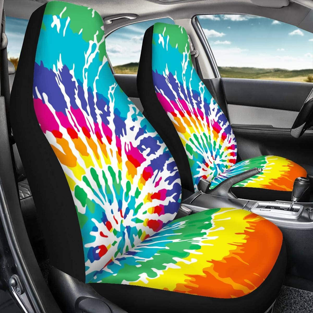 UNICEU Rainbow Boho Ethnic Tie Dye Print Universal 2 PCS Front Seat Cover Durable Bucket Seat Protectors for Car SUV