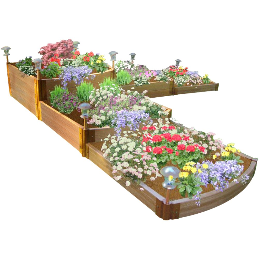 Frame It All One Inch Series Composite Split Waterfall Raised Garden Bed Kit, 144'' x 144'' x 22''