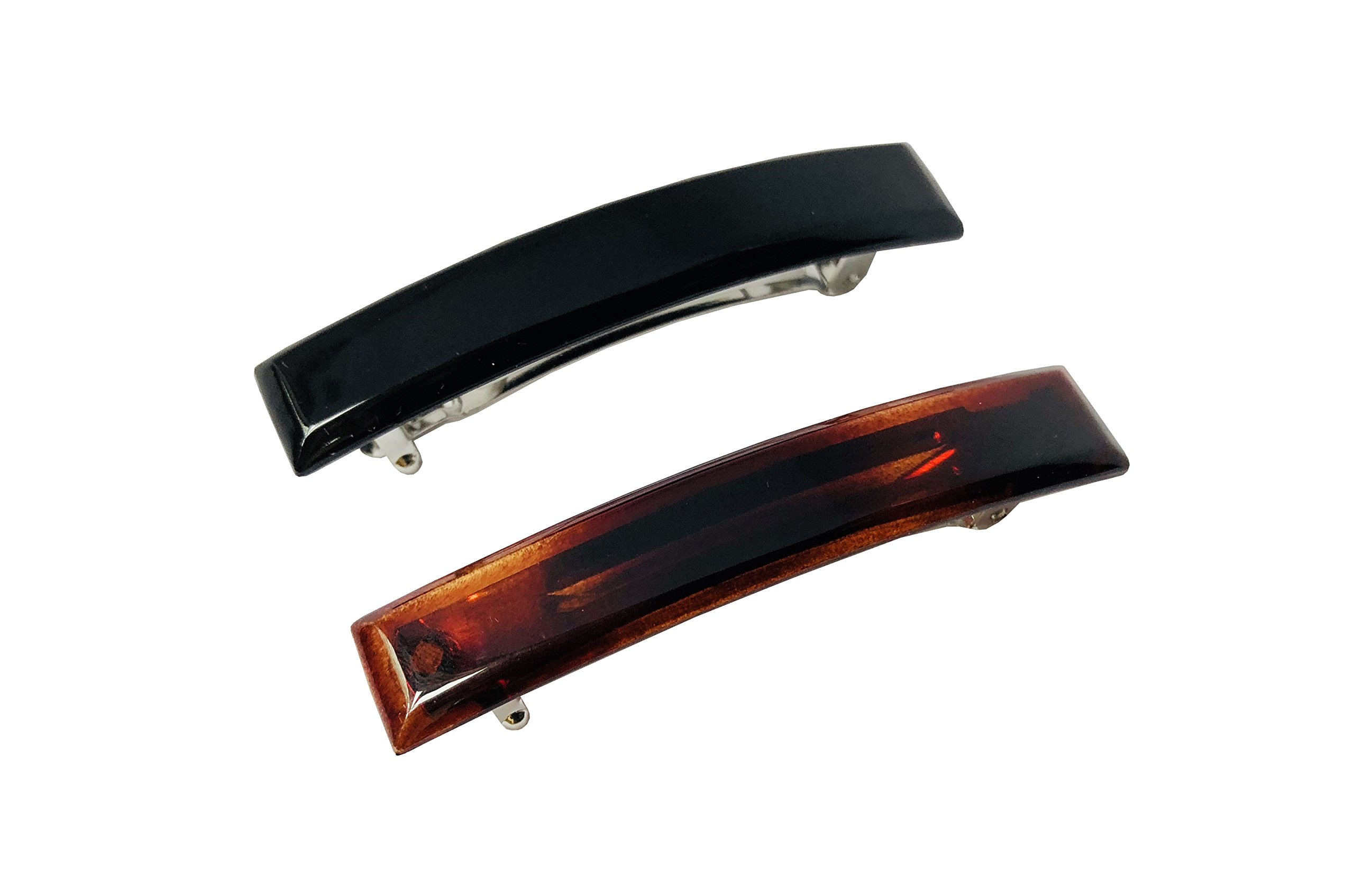 Parcelona French Bar Small Set of 2 Black N Shell Brown Celluloid Automatic Hair Clip Barrette (Small 6 cm, Tortoise Shell and Black)