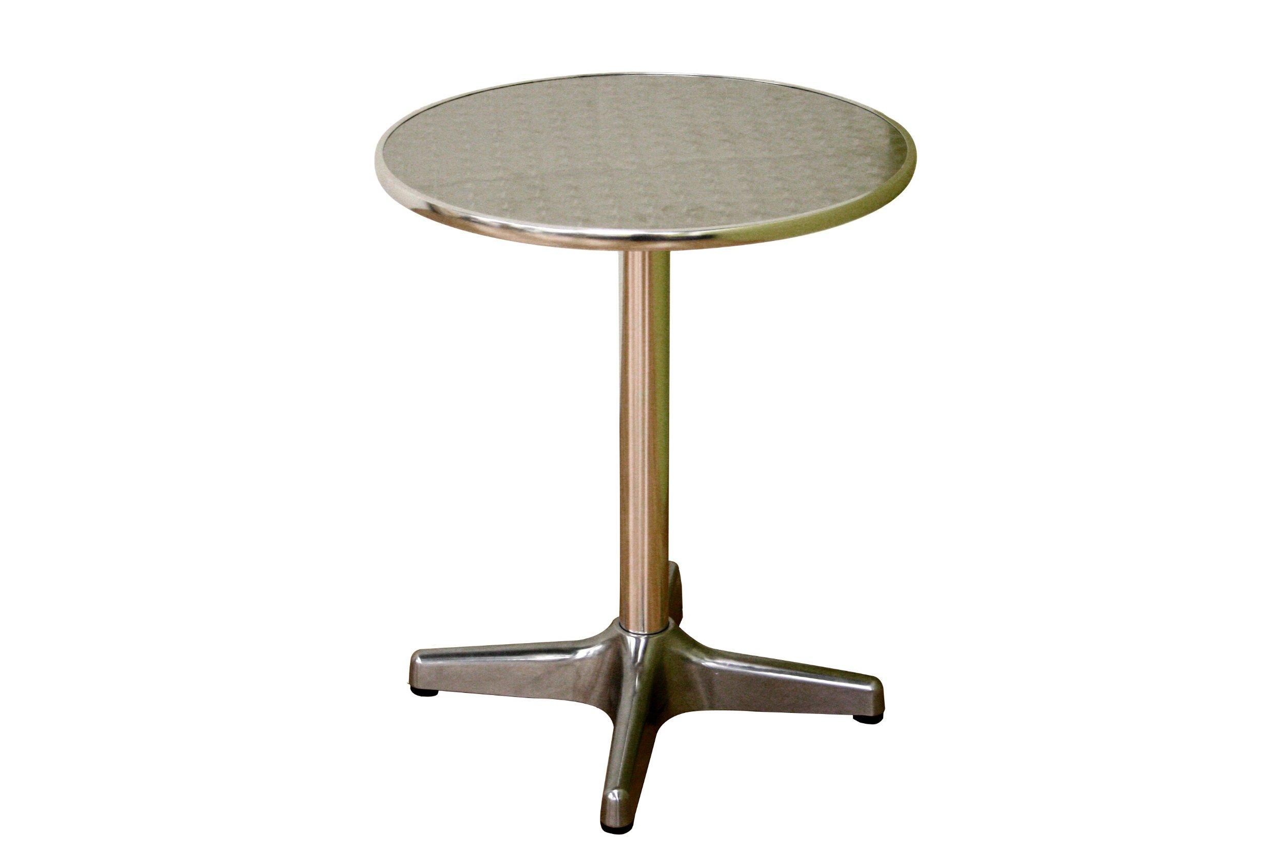Baxton Studio Graziella Steel-Base Aluminum-Top Pedestal Table