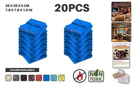 Acepunch AP1040 - Juego de 20 azulejos de pared de espuma acústica con pestañas de montaje