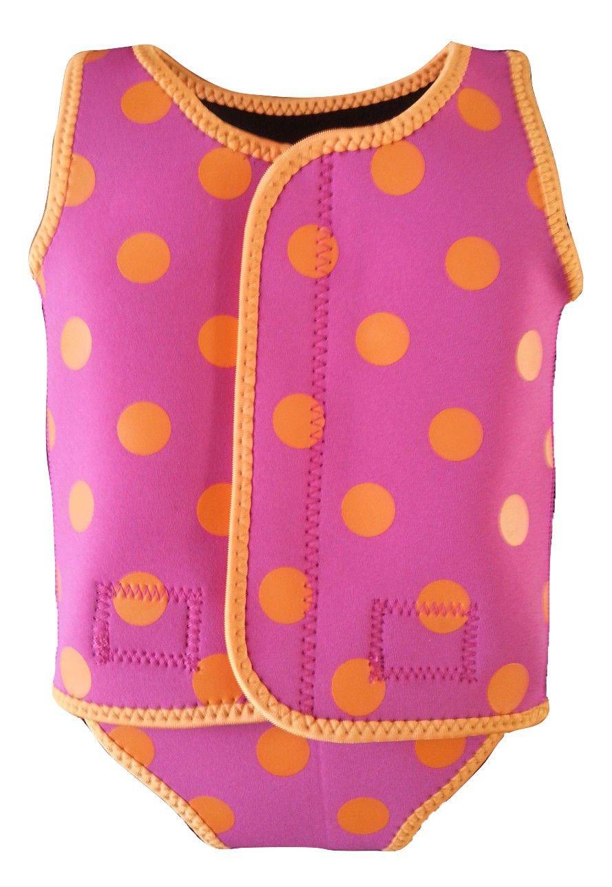 IndigoKids baby toddler girl swim neoprene wrap wetsuit swimsuit swimwear for ages 0-6 6-12 12-24 months fushia pink