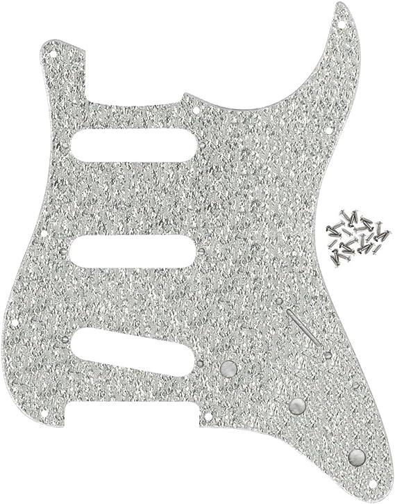 FLEOR 11/agujeros SSS estilo Golpeador acr/ílico ara/ñazos Plate W//tornillos para mexicano//americano moderno est/ándar Fender Strat Guitarra Parte 1/PLY Sparkle de color plateado
