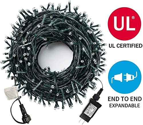 Upgraded 105ft 300 LED Christmas String Lights, End-to-End Plug 8 Modes Christmas Lights – UL Certified – Outdoor Indoor Fairy Lights Christmas Tree, Wedding, Patio, Garden Decoration, Warm White
