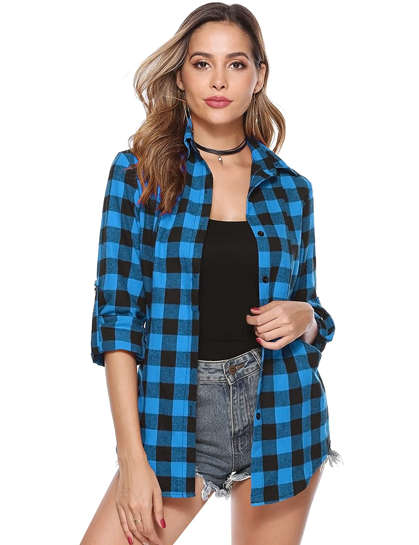 Hawiton kvinnor rutig tröja långärmad knapp ner pläd flanellskjortor casual pojkvän blus toppar med fickor Blue/Big Plaid