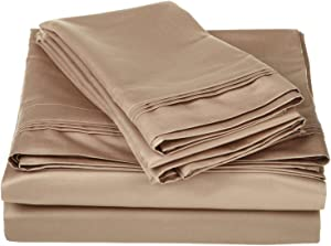 SUPERIOR Egyptian Cotton Solid Deep Pocket Sheet Set, Queen, Taupe, 4-Pieces