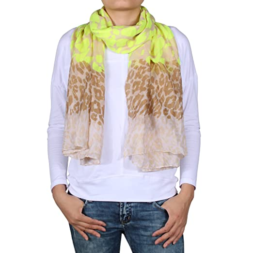 d1e4b1a3dc Cozzy Land Neon Leopard Print Scarf-Lemon Lime-37 inches wide x 70 inches