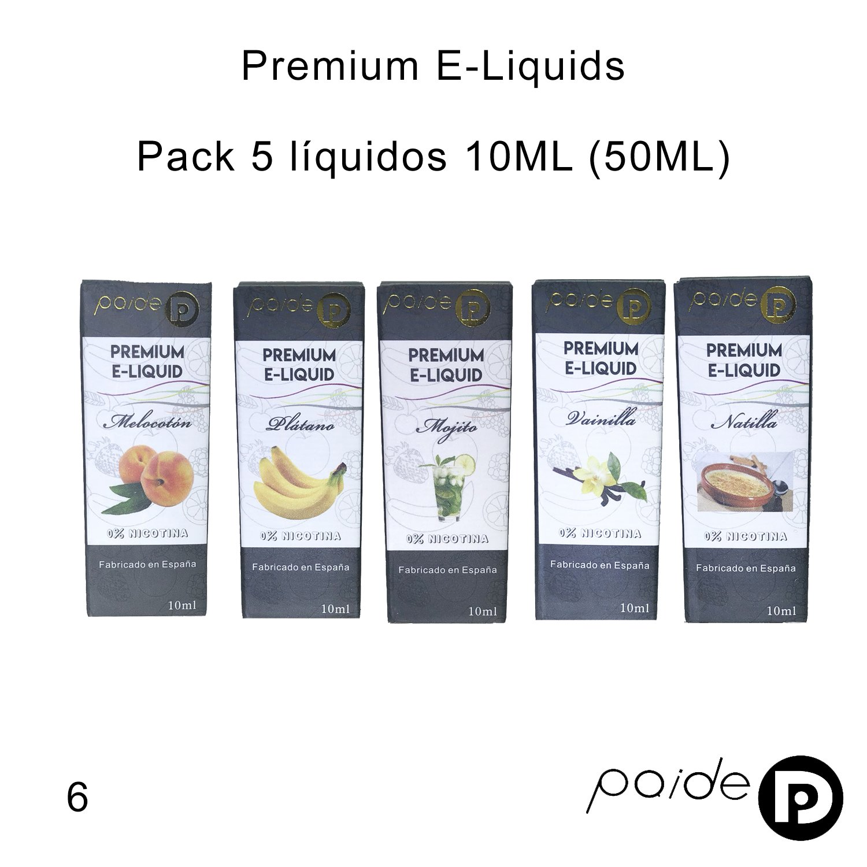 5 x 10ML Paide Premium E-Liquid - Sin nicotina - Líquido para cigarrillo electrónico - 50VG 50PG ... (Pack 6): Amazon.es: Salud y cuidado personal