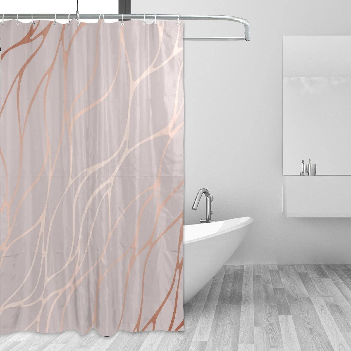 Cpyang Rose Gold Marble Polyester Fabric Shower Curtains