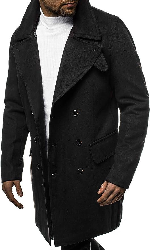 OZONEE Herren Mantel Wintermantel Trenchcoat Jacke /Übergangsjacke Coat Winter Herbst Lang Warm Stehkragen Reverskragen Elegant Klassischer Outdoor Gepolstert J.Style 506