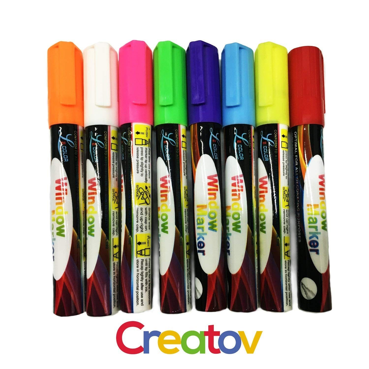 Liquid Chalk Washable Markers, 8 Colored Chalk Markers, Neon & White, Safe & Easy to Use, Non-Toxic, Great For All Ages, By Creatov by Creatov® CreatovÃ'® 4336946848
