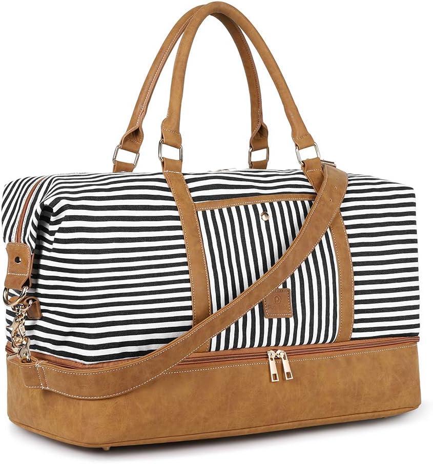 Plambag Canvas Duffel Weekender Bag 43L Water-repellent Overnight Travel Tote Bag Black Stripe