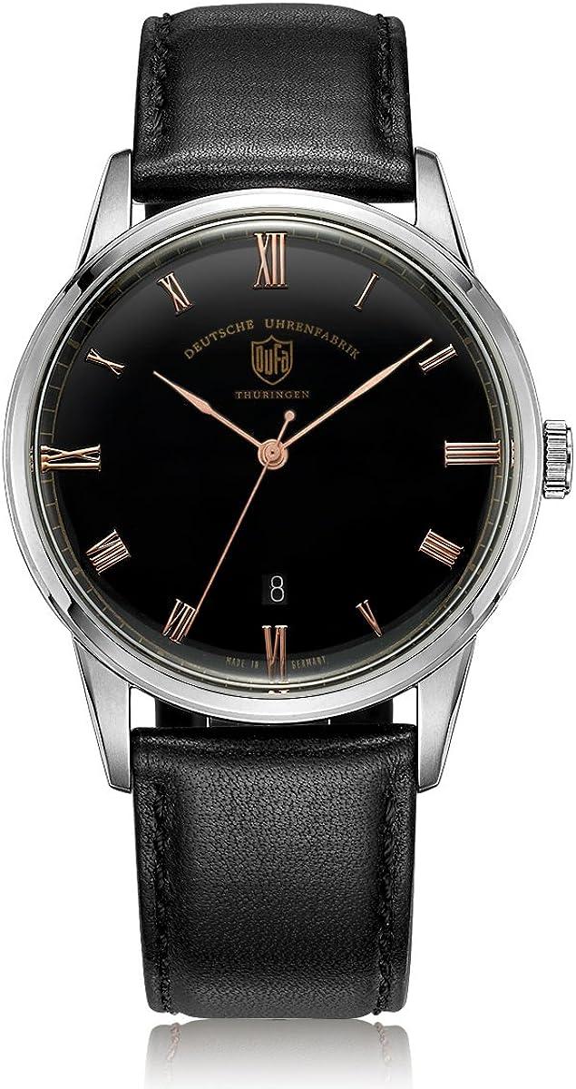 Reloj Cuarzo Dufa Deutsche Uhrenfabrik para Unisex con Negro Analogico Y 0 Cuero Weimar DF-9008-01 Quartz