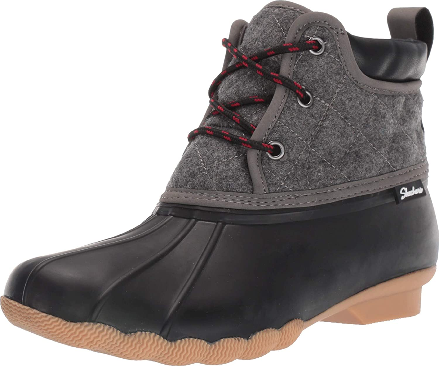 | Skechers Women's Pond-Lil Puddles-Mid Quilted Lace Up Duck Boot with Waterproof Outsole Rain | Rain Footwear
