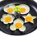 Egg Mold 5 Piece Set - Stainless Steel - Pancake Mold - Cookie Cutter Set