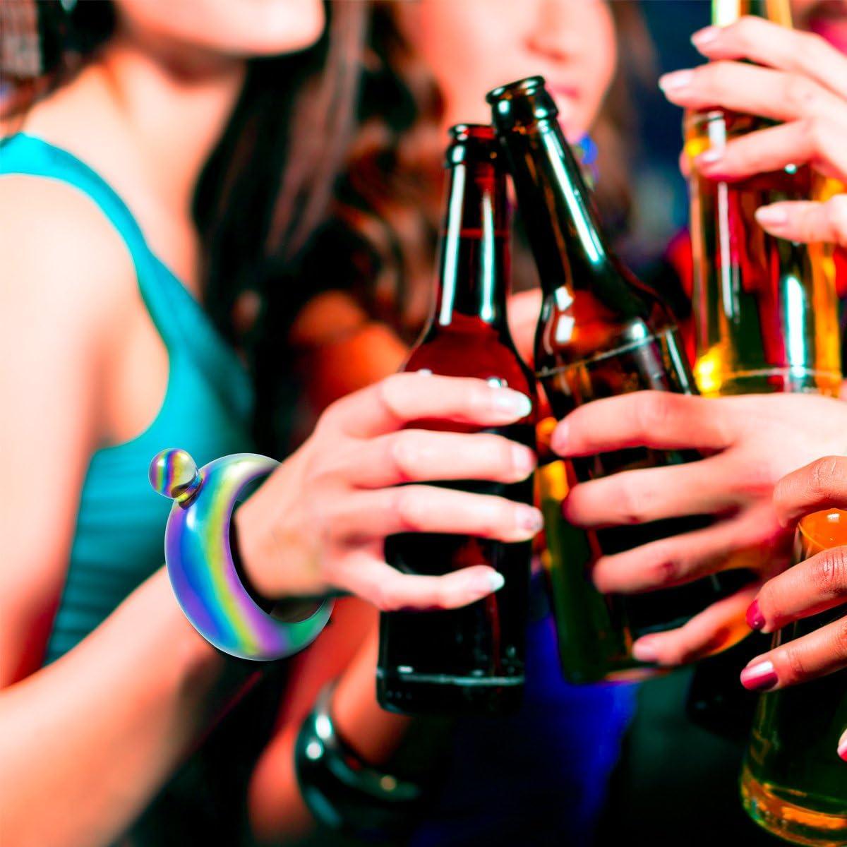 Stainless Steel Hidden Liquor Alcohol Cute Sneak Hip Flasks with Funnel Ajaa Wine Jewelry for Women Rainbow Flask Bracelet Bangle