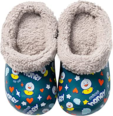 Toddler Little Kids Lined Clogs Boys Girls Winter Sandals Home House Shoes Warm and Fuzzy Slippers Garden Shoes Indoor Outdoor Mules