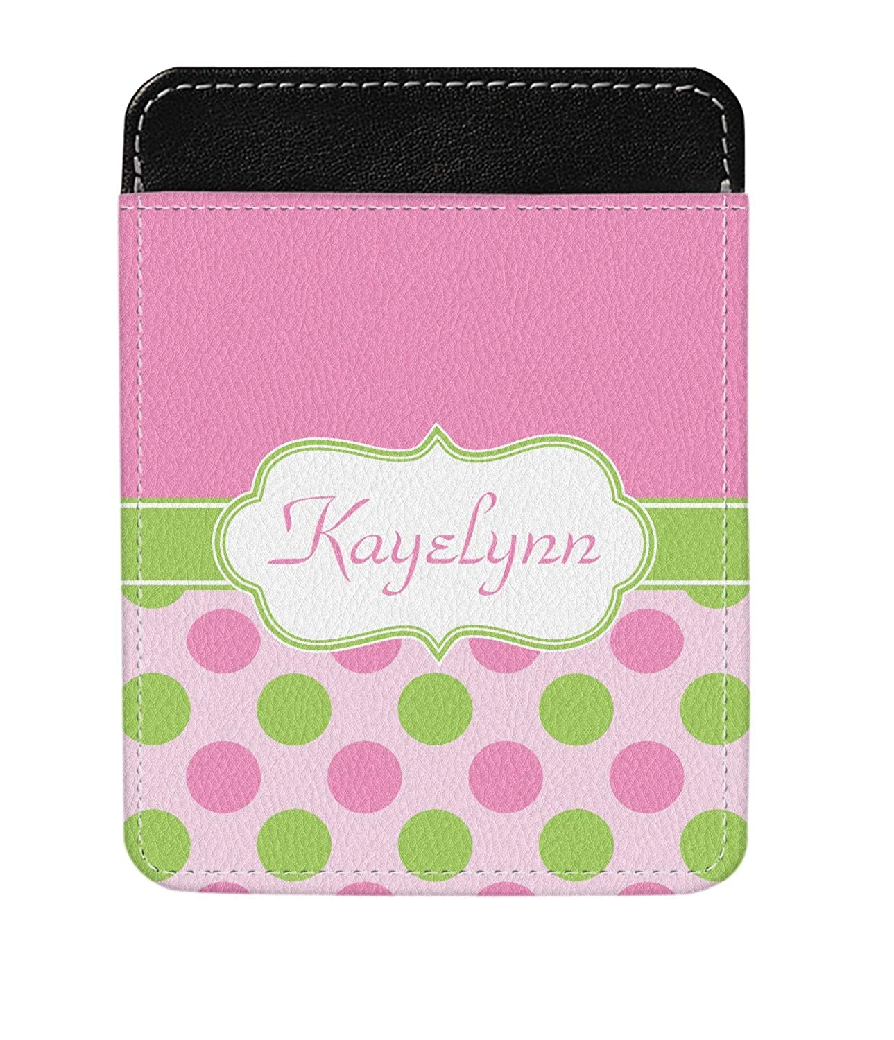 Personalized Pink /& Green Dots Genuine Leather Money Clip