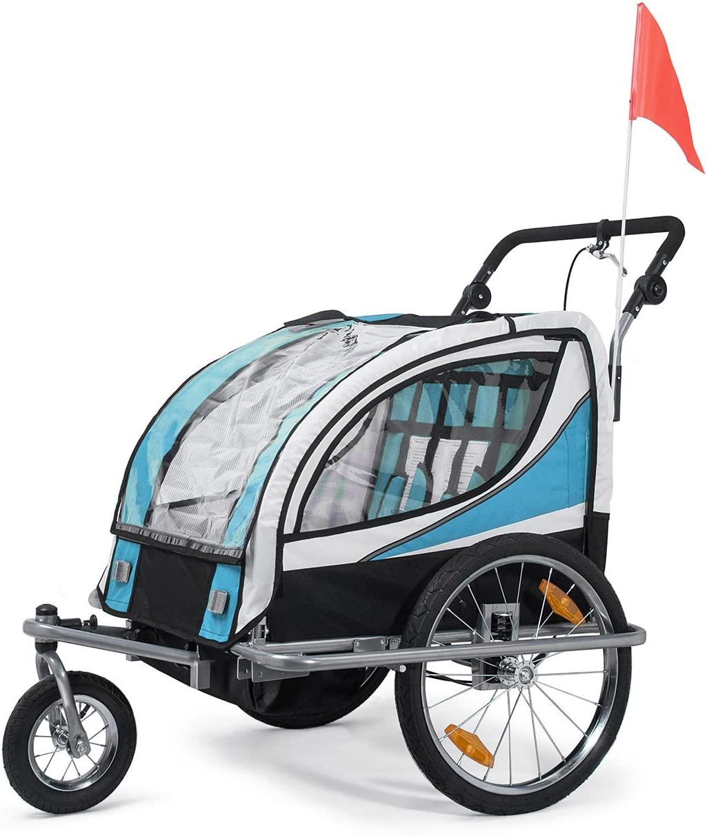 SAMAX Remolque de Bicicleta para Niños 360° girable Kit de Footing Transportín Silla Cochecito Carro Suspensíon Infantil Carro en Azul - Silver Frame: Amazon.es: Bebé