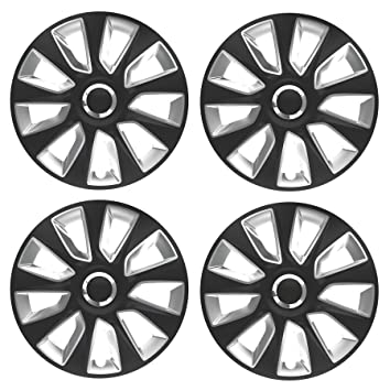 "UKB4C 4 x Wheel Trims Strat Hub Caps 14"" Covers fits Chevrolet Aveo, Kalos"