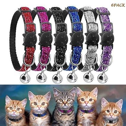 OneBarleycorn - Juego de 6 collares para gatos con campana reflectante y hebilla de seguridad,