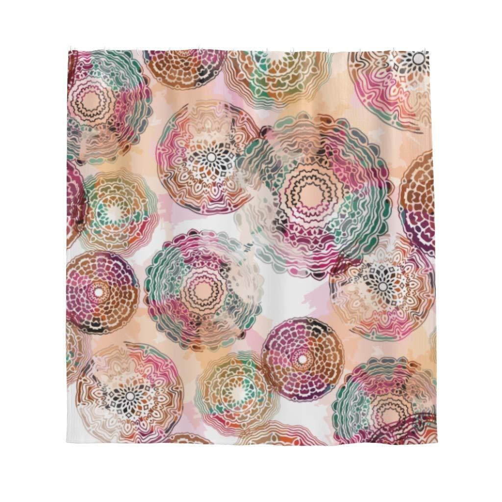 Psychedelic Mandala/ Anti moho alta circular cuarto de ba/ño cortina de ducha con ganchos geom/étrica, carb/ón, 120 x 200 cm /Cortina de ducha