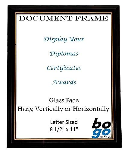 amazon com 8 5 x 11 inch document frame black with gold trim