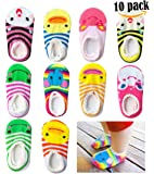 Bassion 10 Pairs Baby Socks Non Slip Newborn Infant Cute Baby Ankle Cotton Socks Skid Toddler Gripper Socks for 6-18 Months