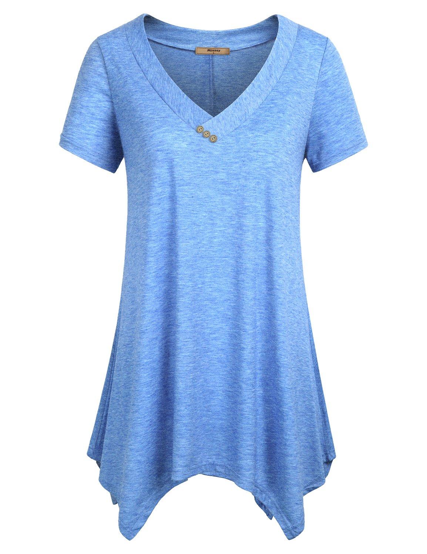Miusey Long Tunic Womens Short Sleeve Shirts V Neck Handkerchief Hem Flowy Flare Top Blue XL