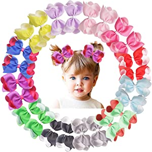 24PCS 4Inch Double Layer Grosgrain Ribbon Hair Bows Alligator Hair Clips Hair Accessories for Baby Girls Toddlers Kids Children in Pairs