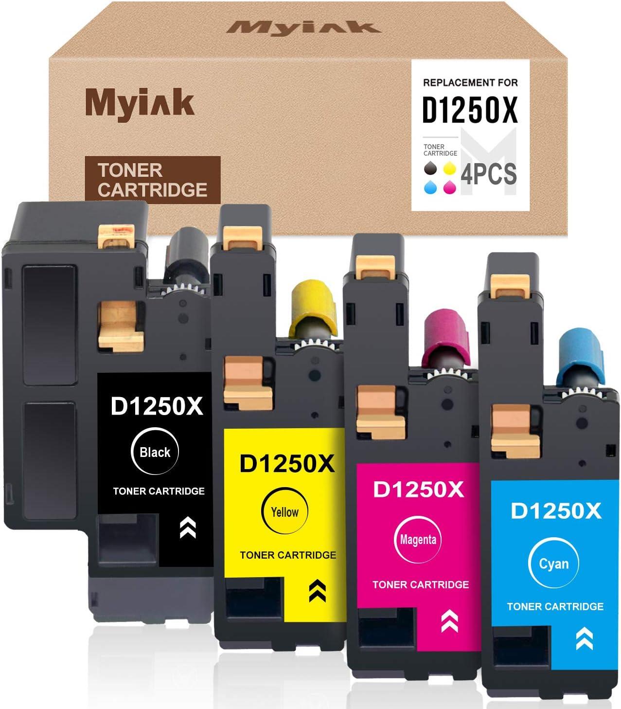 MYIK Compatible Toner Cartridge Replacement for Dell 1250 810WH C5GC3 XMX5D WM2JC to use with C1760nw 1250c C1765nfw 1350cnw 1355cn 1355cnw (Black, Cyan, Magenta, Yellow, 4-Pack)