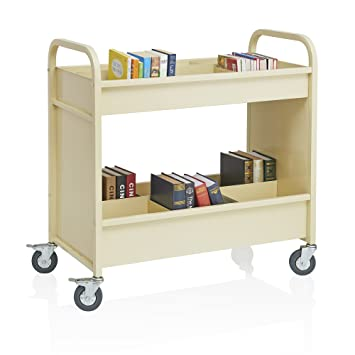 4 Wheel Heavy Duty 2 Shelf Rolling Utility Storage Cart Pearl, Metal Book  Truck