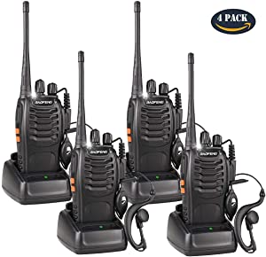 BaoFeng Walkie Talkies Rechargeable Long Range for Adults, UHF FRS/GMRS Two Way Radio with Earpieces 16 Channel Signal Band UHF 400-470MHz Li-ion Battery and Charger (Pack of 4)