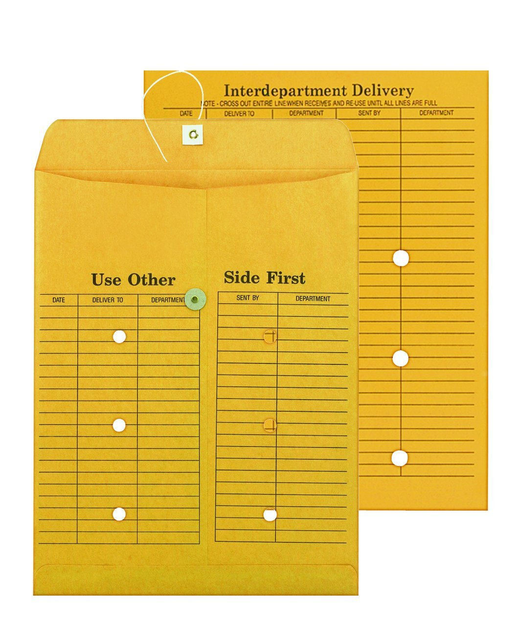 Columbian Brown Kraft String & Button 10 x 13 Inch Interdepartment Envelopes 100 Count (CO880)